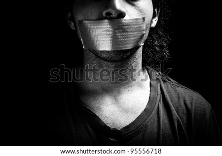 Victim with mouth related - stock photo