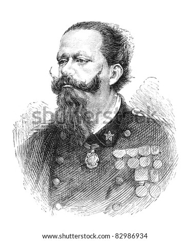 Victor Emanuel II (1820-1878) was king of Sardinia from 1849. In 1861 he assumed the title King of Italy. Engraving by unknown artist from The Leisure Hour magazine printed in 1880. - stock photo