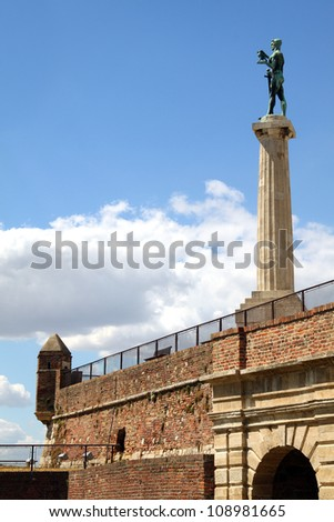 Victor monument on Kalemegdan fortress in Belgrade, Serbia - stock photo