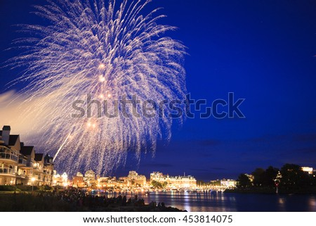 VICTORIA BC CANADA JULY 1 2016: Victoria Inner Harbor at Canada Day- Fire works to the public, Vancouver Island communities will be buzzing with activity on the July 1st - stock photo