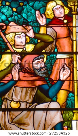 VICTORIA BC CANADA JUNE 23 2015: Stained glass window in Christ Church Cathedral in Victoria is the cathedral church of the Diocese of British Columbia of the Anglican Church of Canada. - stock photo