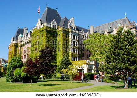 VICTORIA, BC, CANADA JUNE 23: The Fairmont Empress is one of the oldest and most famous hotels on june 23 2009 in Victoria, British Columbia, Canada  It has been designated a National Historic Site.