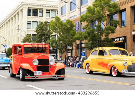 VICTORIA,BC,CANADA-MAY 23,2016: People, Organizations from Canada and USA in the Victoria Day parade along Douglas Street. This is Victoria's largest parade, attracting well over 100,000 people..  - stock photo