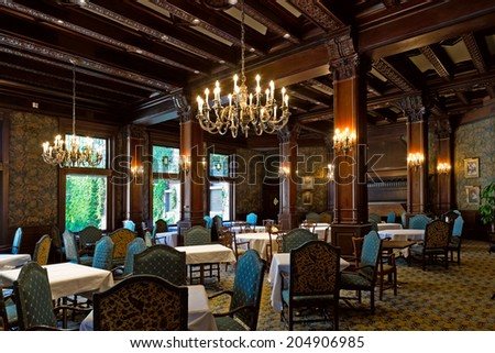 VICTORIA, BC - CIRCA JULY 2014 - The Empress Room at The Fairmont Empress Hotel notably the most picturesque dining room in Victoria.