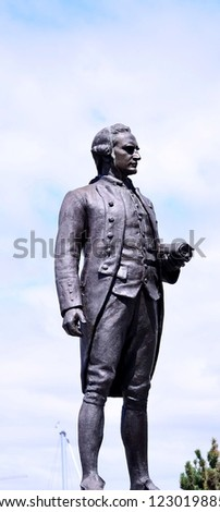 VICTORIA, BC - MAY 1: The statue of George Vancouver on May 1, 2012 in Victoria. George Vancouver uses his name for the city after he explores to British Columbia and Washington - stock photo