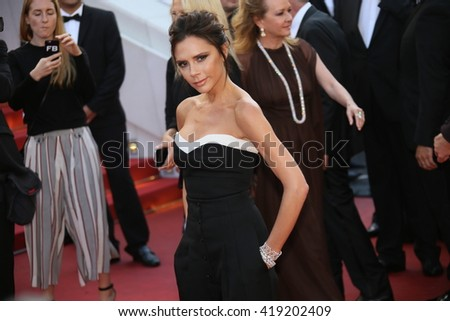 Victoria Beckham attends the 'Cafe Society' premiere and the Opening Night Gala during the 69th Cannes Film Festival at the Palais des Festivals on May 11, 2016 in Cannes, France. - stock photo