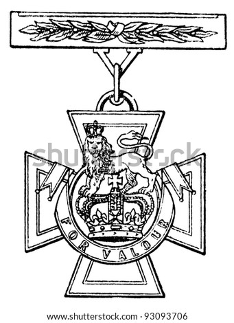 "Victoria Cross (Britain, 1856). Publication of the book ""Meyers Konversations-Lexikon"", Volume 7, Leipzig, Germany, 1910 - stock photo"