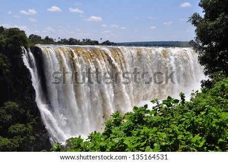 Victoria Falls at full flow rate - stock photo