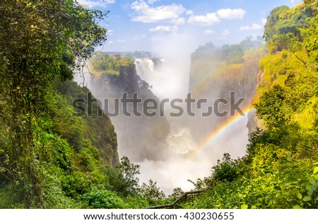 Victoria Falls Devil's Cataract in Africa, between Zambia and Zimbabwe, one of the seven wonders of the world - stock photo