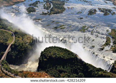 Victoria Falls on the boarder of Zambia and Zimbabwe, Africa, seen from the air  - stock photo