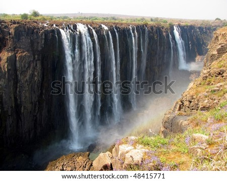 Victoria Falls seen from the side of Zimbabwe