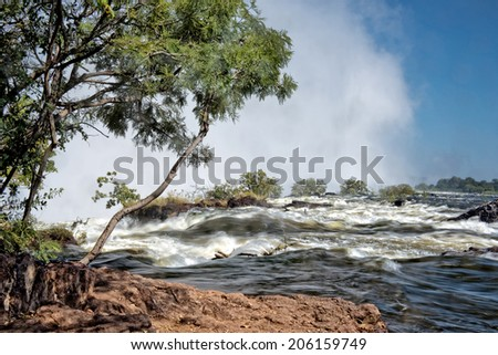 Victoria falls upstream, Zambia - stock photo