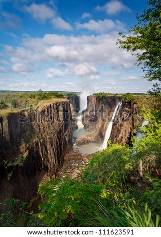 Victoria Falls, Zambia, portrait with blue cloudy sky
