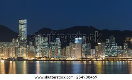 Victoria Harbor in Hong Kong - stock photo
