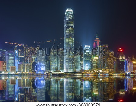 Victoria Harbor of Hong Kong at night - stock photo