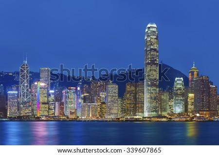 Victoria Harbor of Hong Kong at night - stock photo
