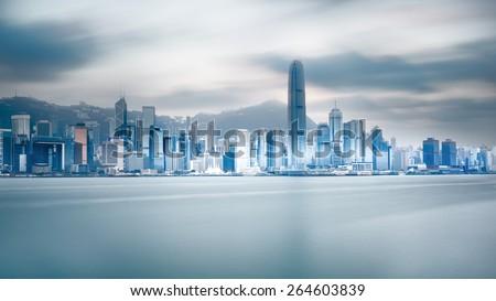 Victoria harbour, Hong Kong China - stock photo