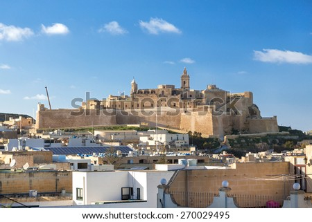 VICTORIA, MALTA - JANUARY 13, 2015: View on Cittadella, fortified city in Victoria. It is on the list of UNESCO World Heritage Sites. - stock photo