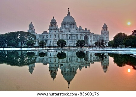 Victoria Memorial at sunset, Kolkata, India - stock photo
