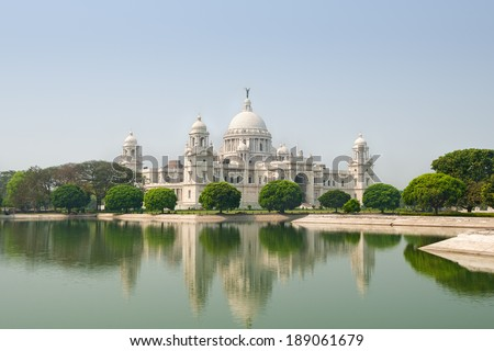 Victoria Memorial in Calcutta (Kolkata) - India - stock photo
