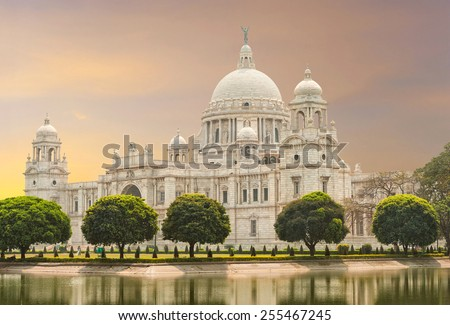 Victoria Memorial landmark in Calcutta (Kolkata) - India - stock photo
