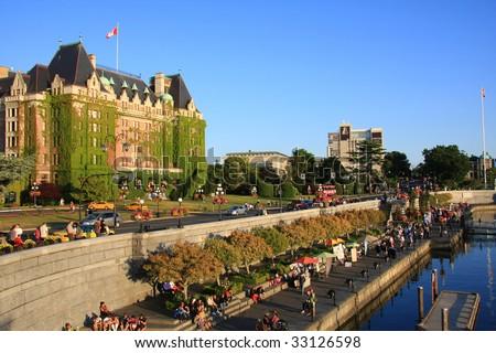 Victoria's beautiful inner harbour, Vancouver Island, B.C., Canada. - stock photo