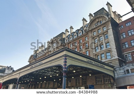Victoria Station terminal located at London - stock photo