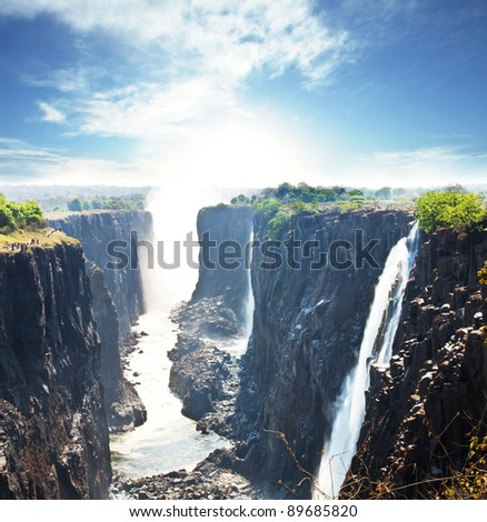 Victoria waterfall - stock photo