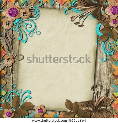 victorian background with paper and flowers - stock photo