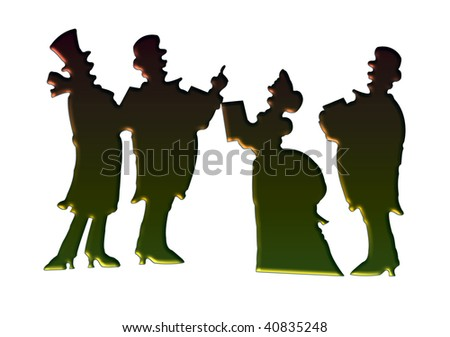 Victorian christmas carolers making a vintage card - stock photo