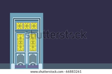 victorian door as invitation and welcome to guests, great for poster, business cards, realtors, letter head - stock photo
