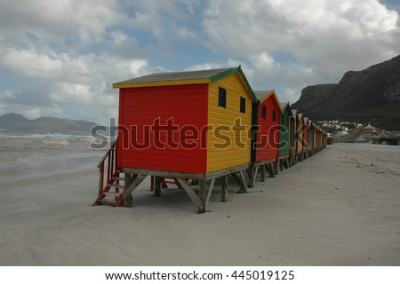 Victorian - era beach huts at Muizenberg on the Cape Peninsula near Cape Town, South Africa.
