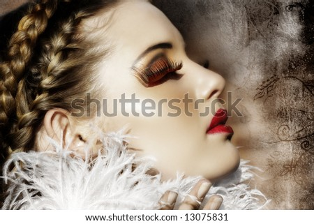Victorian fashion woman with braids, white feathers, red fantasy lashes and scarlet lipstick on grunge background ? my design - stock photo