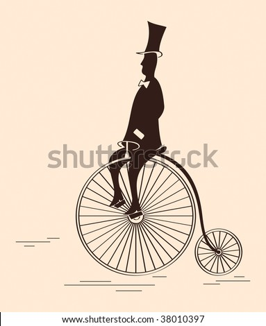 Victorian gentleman riding retro big wheel bicycle