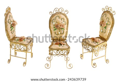 Victorian Gold Decorated Chair with Ribbon Flowers and Pearls. - stock photo