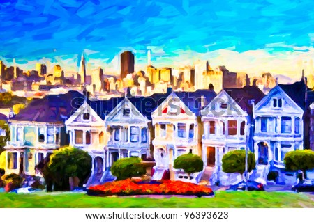 Victorian houses at Alamo square, painting art - stock photo