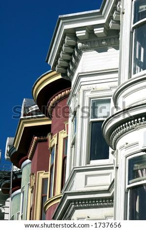 Victorian houses in San Francisco, Alamo Square. - stock photo