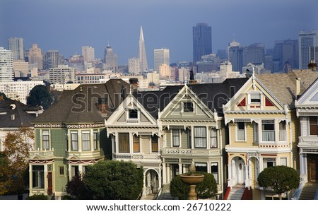 Victorian Houses Modern Skyscrapers San Francisco Skyline California