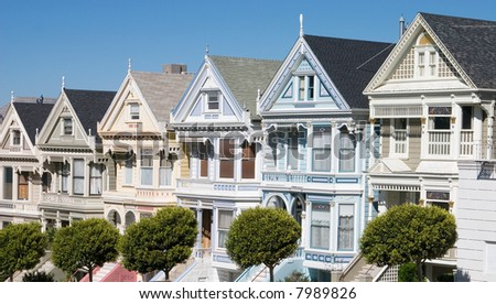 Victorian houses on Alamo Square in San Francisco - stock photo