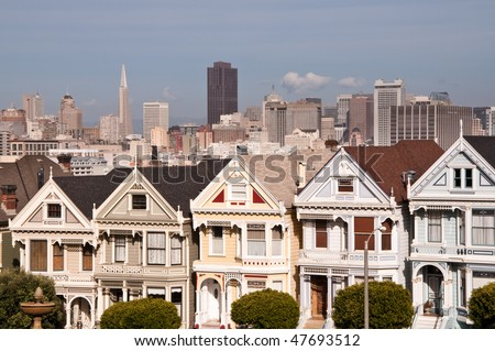 Victorian Houses on Steiner Street, Alamo Square, San Francisco