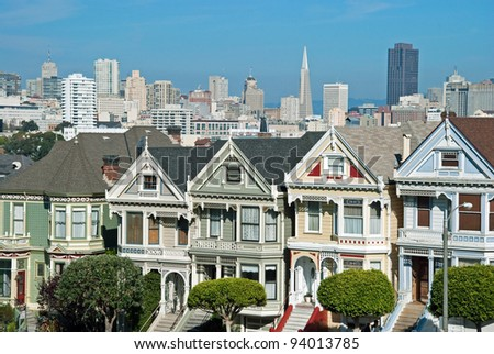 Victorian houses painted ladies in San Francisco near Alamo Square - stock photo