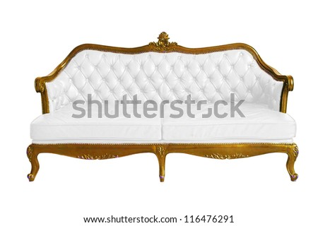 Victorian leather sofa in white grunge room - stock photo