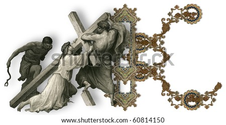Victorian letter K with Jesus Christ, enfeebled by the weight of the cross.