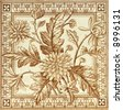 Victorian period decorative arts printed panel tile with dandelions - stock photo