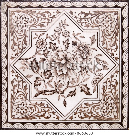 Victorian period decorative arts printed tile in sepia tone - stock photo
