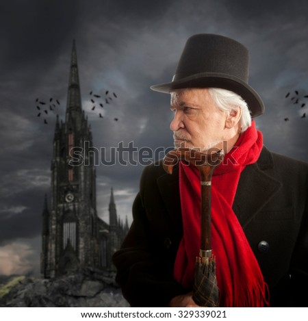 Victorian portrait of a senior man thinking about something - stock photo