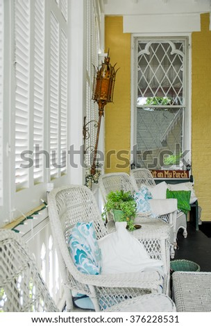 Victorian style Country Porch With Wicker in Rural Kentucky
