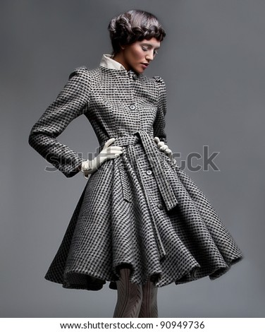 Victorian style - Fashion Model lovely Woman Brunette in Retro Coat - series of photos - stock photo