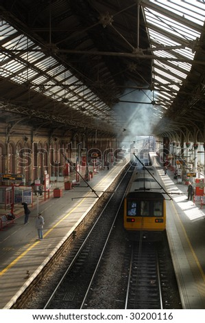 Victorian Train Station Blackpool - stock photo