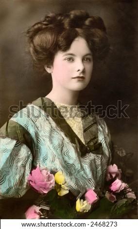 Victorian Valentine Portrait - a 1909 hand-tinted photograph - stock photo